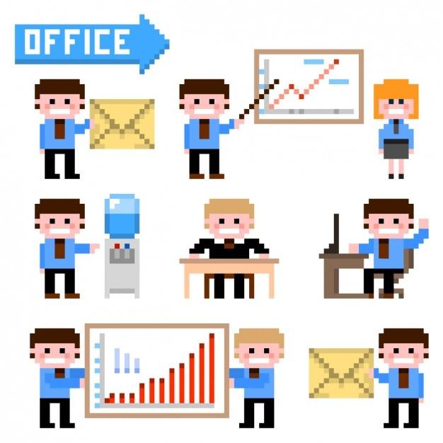 Workmates Avec Des éléments Infographiques Dans Le Style Pixelisé Vecteur gratuit