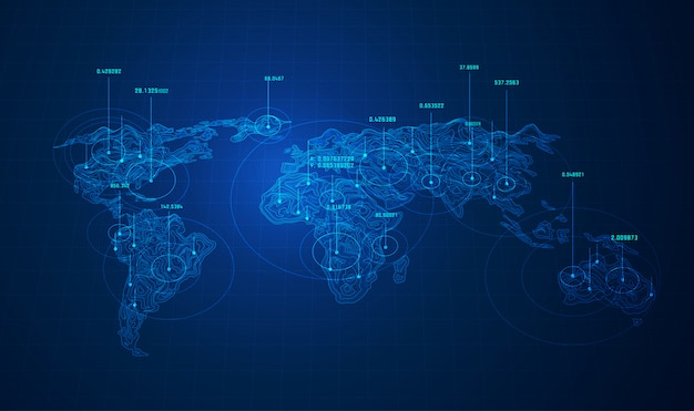 World Big Data, Carte Du Monde Avec Des Points Vecteur Premium
