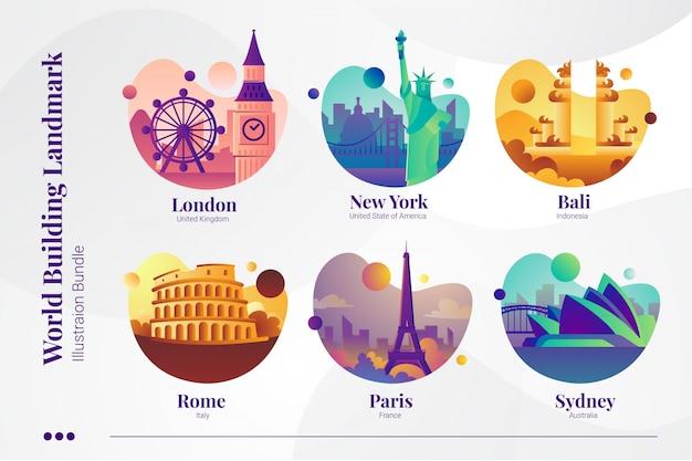 World building landmark, londres, ny, bali, rome, paris et sydney Vecteur Premium