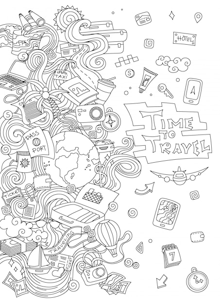 World travel set. collection de croquis pour le vecteur simple dessinés à la main Vecteur Premium