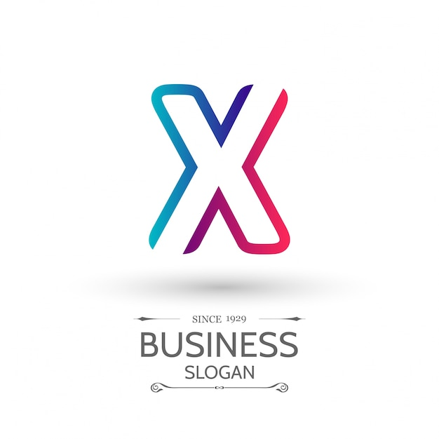 X Letter Logo Business Template Colorful Icône Vecteur Vecteur gratuit