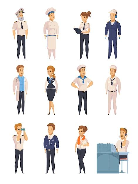 Yacht Ship Cartoon Characters Set Vecteur gratuit