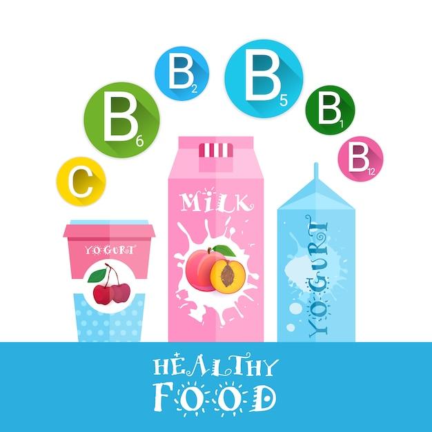 Yaourt frais et lait avec fruits logo set produits biologiques isolés et concept d'aliments sains Vecteur Premium