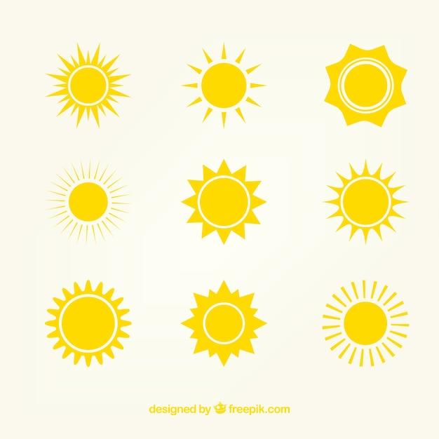 Yellow sun icônes Vecteur gratuit