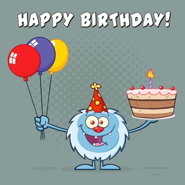Yeti tenant des ballons et un gâteau d'anniversaire Vecteur Premium