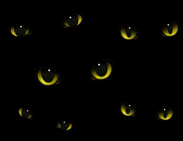 Yeux de chats dans l'obscurité réalistes Vecteur gratuit
