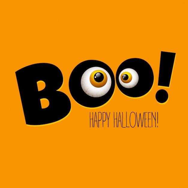 Yeux De Monstre Drôle De Carte De Voeux Halloween. Vecteur Premium
