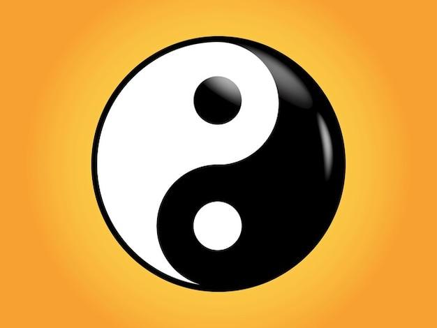 Yin yang symbole asiatique Vecteur gratuit