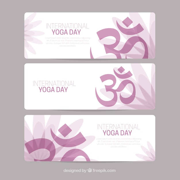 Yoga bannières jour collection Vecteur gratuit