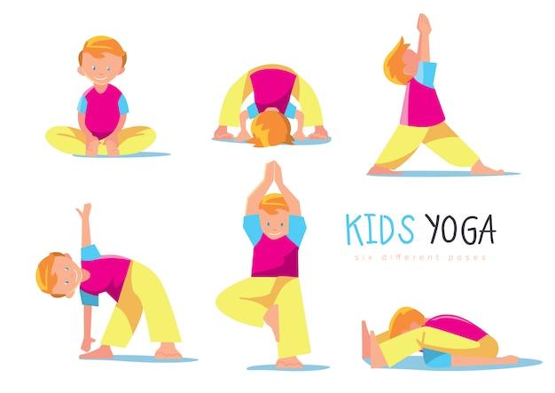 Yoga enfants mis, illustration. Vecteur Premium