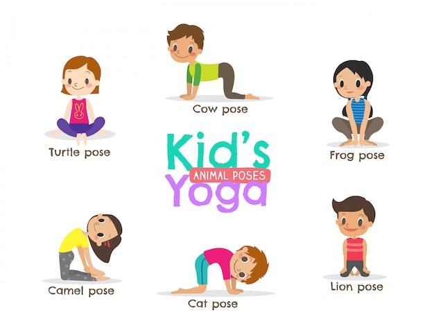Yoga enfants pose illustration vectorielle Vecteur Premium