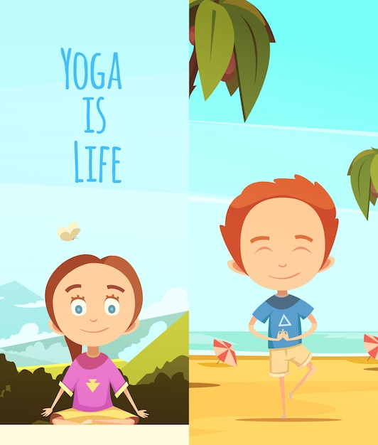 Le yoga est une illustration de la vie Vecteur gratuit