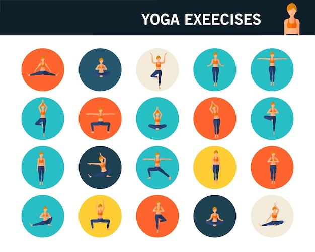 Yoga exerce des icônes plats concept. Vecteur Premium