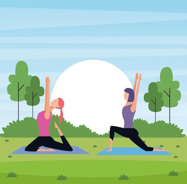 Yoga des femmes dans le parc Vecteur Premium