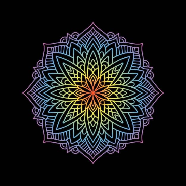 Yoga Mandala Dégradé Rond Vecteur Premium
