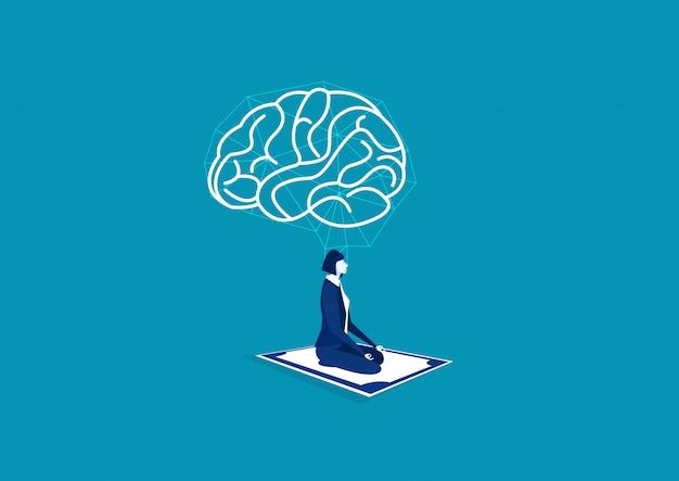 Yoga Méditation Femme D'affaires Avec Cerveau Positif Sur Gros Argent Vecteur Premium