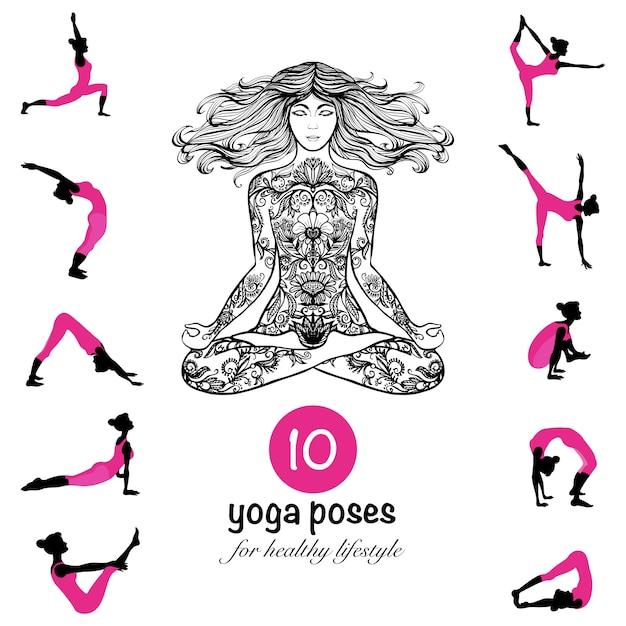 Yoga pose des affiches de composition de pictogrammes asanas Vecteur gratuit