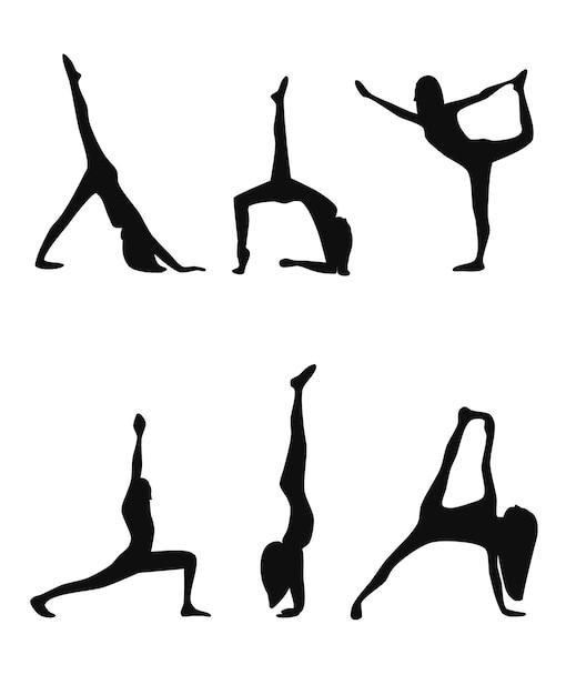 Yoga Pose Ensemble De Silhouettes Noires Vecteur gratuit