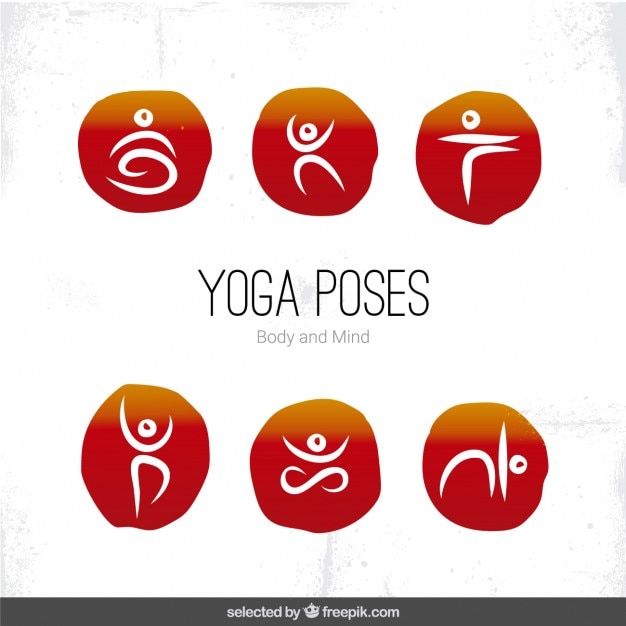 Yoga pose icônes Vecteur gratuit
