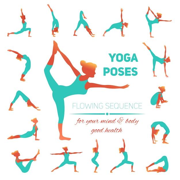 Yoga pose des icônes Vecteur gratuit