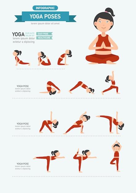 Yoga pose infographie. vecteur Vecteur Premium