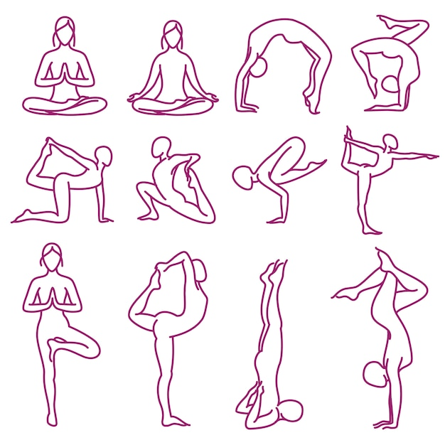 Yoga pose des silhouettes de vecteur Vecteur Premium