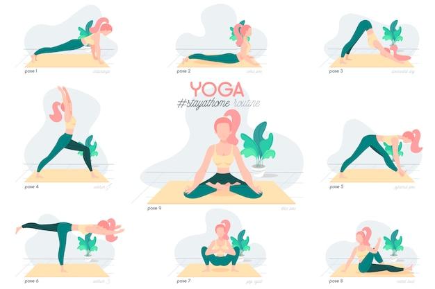 Yoga Reste à La Maison Routine Avec Caractère Vecteur gratuit