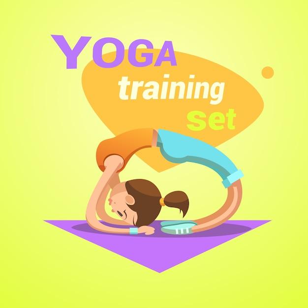 Yoga rétro bande dessinée avec une jolie jeune fille pratiquant des étirements illustration vectorielle d'entraînement Vecteur gratuit