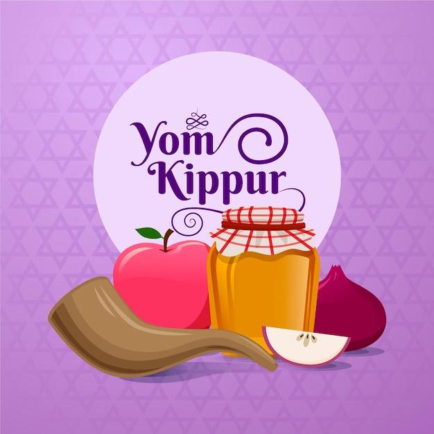 Yom Kippour Réaliste Avec Corne Avec De La Nourriture Vecteur gratuit