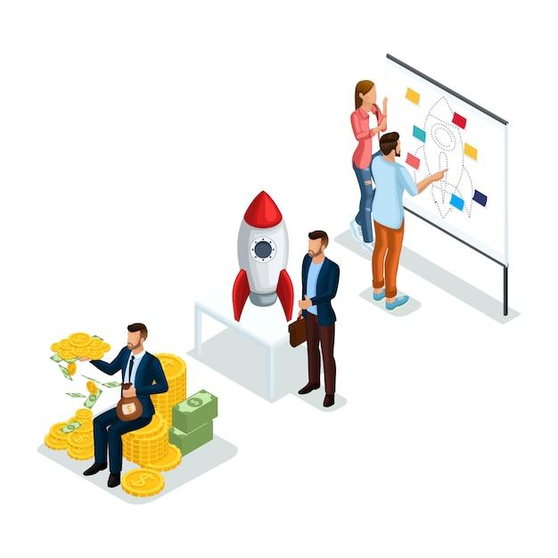 Young Entrepreneurs, Nouveau Projet De Création D'entreprise Pour Les Investisseurs à évaluer à La Recherche D'investissement Isolé Vecteur Premium