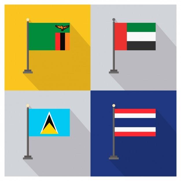 Zambie emirats arabes unis sainte-lucie et la thaïlande drapeaux Vecteur gratuit