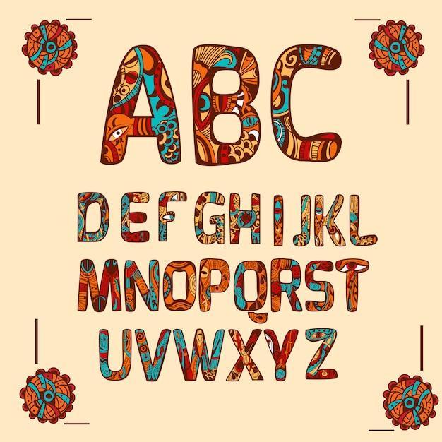 Zentangle alphabet couleur Vecteur gratuit