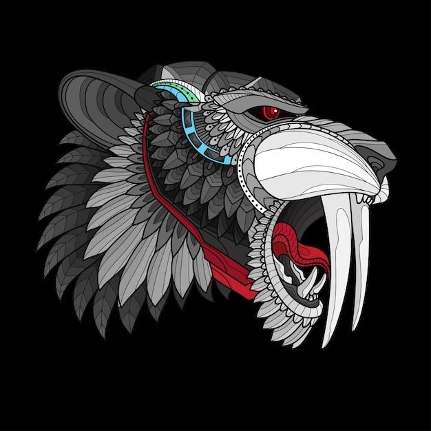 Zentangle stylisé tête de tigre à dents de sabre Vecteur Premium