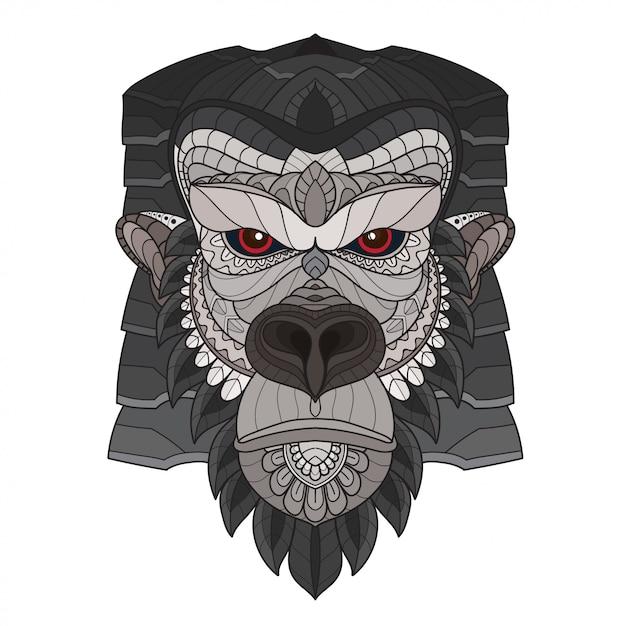 Zentangle tête de gorille stylisée. illustration vectorielle Vecteur Premium