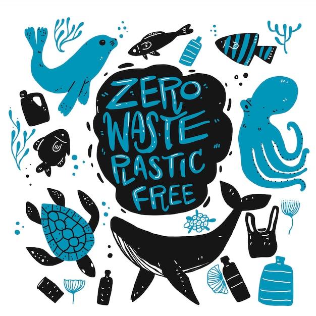 Zéro Déchet Sans Plastique Vecteur Premium