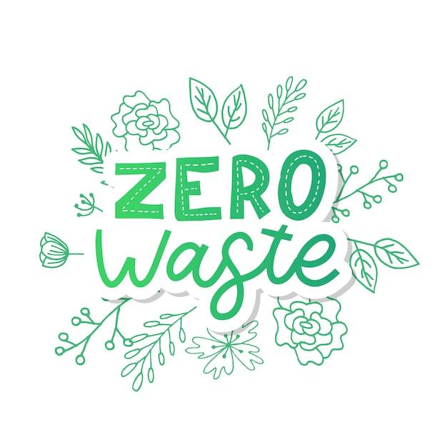 Zero Gaspillage. Lettrage De Texte Eco Illustration Verte. Vecteur Premium