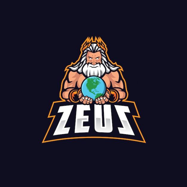 Zeus e sport logo vectoriel Vecteur Premium