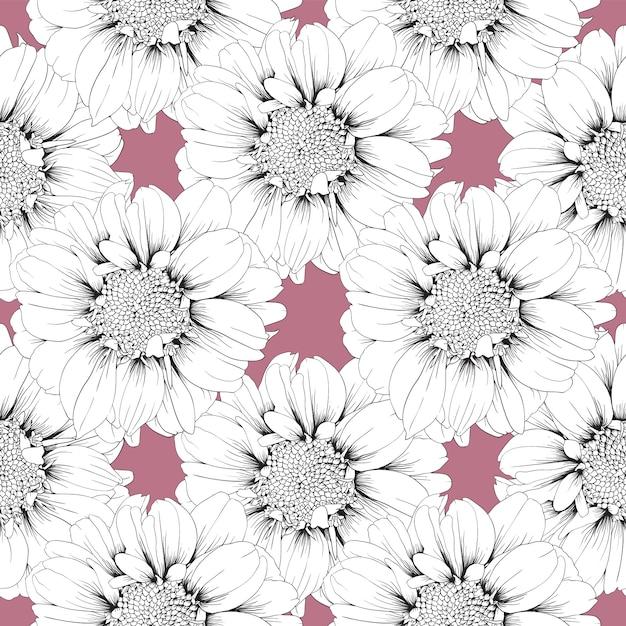 Zinnia transparente motif fleurs pastel abstrait. Vecteur Premium