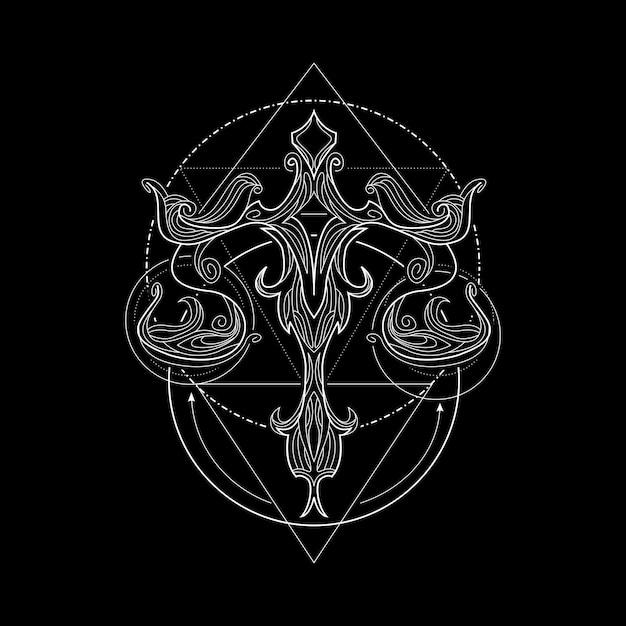 Zodiac balance geometri style Vecteur Premium