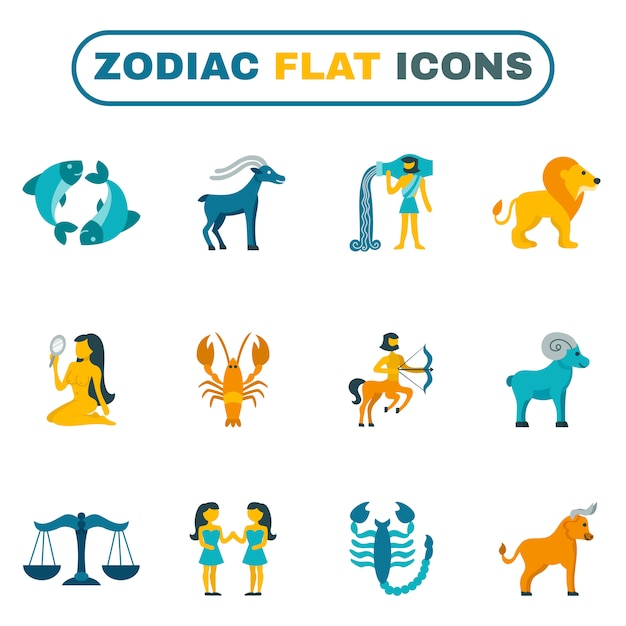 Zodiac icon flat Vecteur gratuit