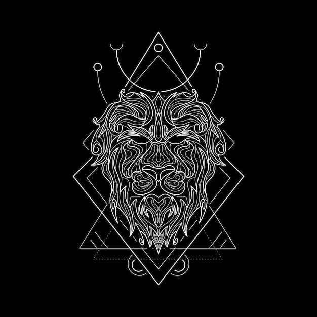 Zodiac leo style geometri Vecteur Premium