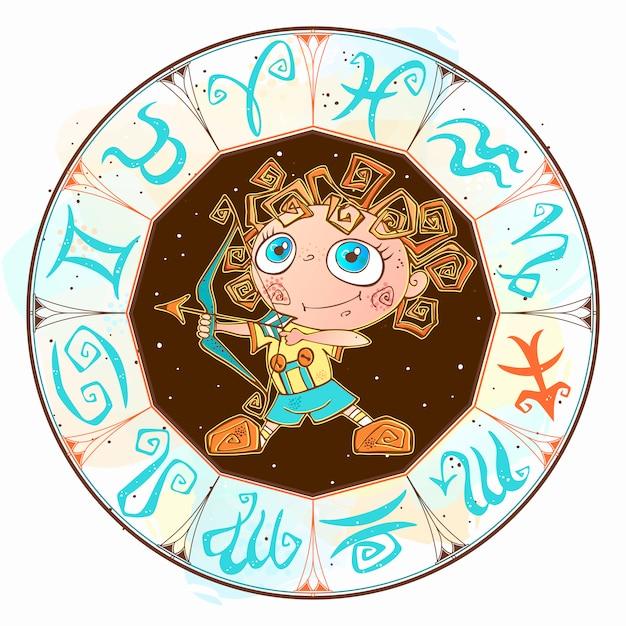 Zodiac pour les enfants. sagittaire. style mignon. Vecteur Premium