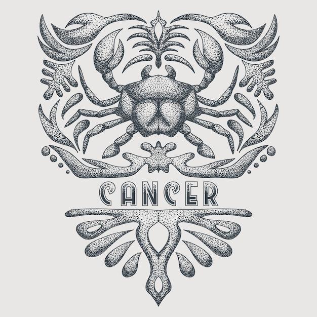Zodiaque du cancer vintage Vecteur Premium