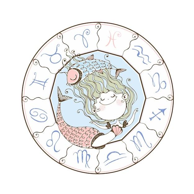 Zodiaque Des Enfants. Le Signe Du Zodiaque Poissons. Jolie Petite Sirène. Vecteur Premium