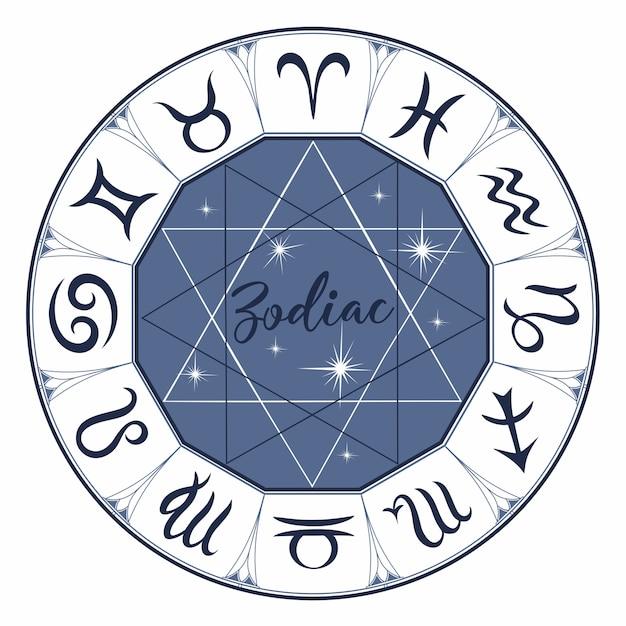Zodiaque. des signes. astrologie. mystique. Vecteur Premium