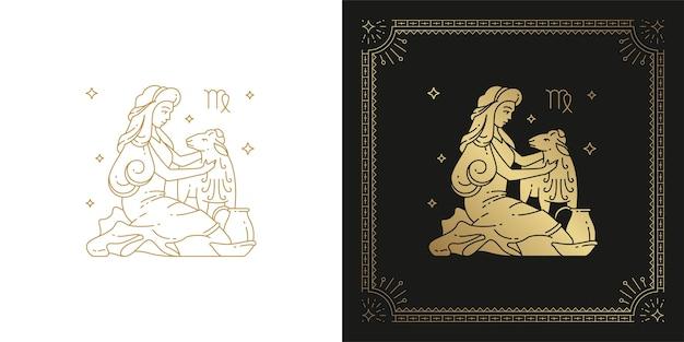 Zodiaque Vierge Horoscope Signe Ligne Art Silhouette Design Illustration Vecteur Premium