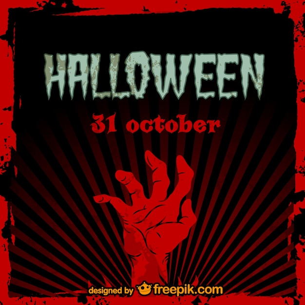 Zombie Carte Du Parti Hallowen Vecteur gratuit