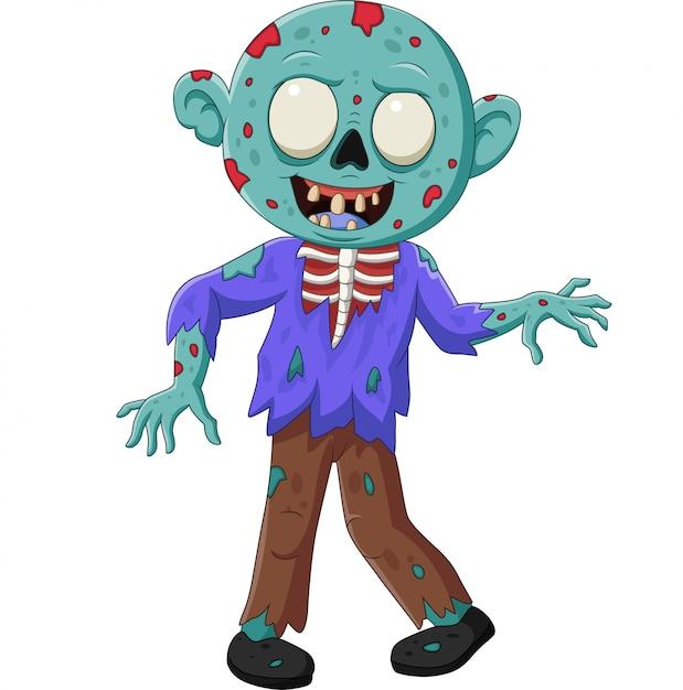 Zombie cartoon isolé sur blanc Vecteur Premium
