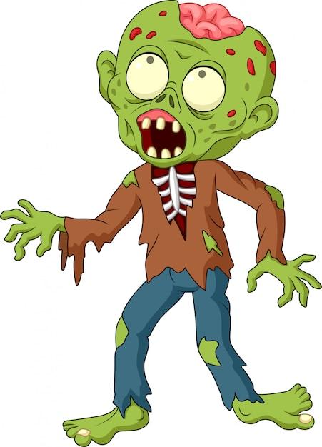 Zombie cartoon isolé sur fond blanc Vecteur Premium