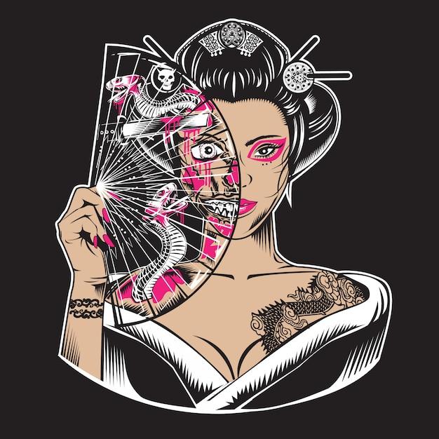 Zombie Geisha Vecteur Premium